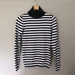 Ann Taylor • Classic Turtleneck Sweater • Striped